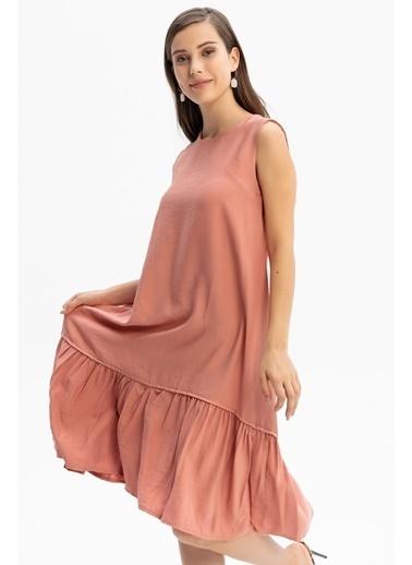 Tiffany&Tomato Etek Ucu Fırfırlı Keten Uzun Elbise Pudra